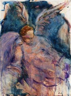 Dede Schuhmacher - Archangel Zadkiel Watercolor on Paper, Paintings