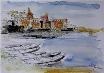 Vasant Dora - Benares River Ghats 2 Watercolor & Ink on Paper, Paintings