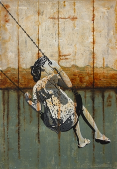 db Waterman - A Tender Age Acrylic & Collage on Canvas, Mixed Media