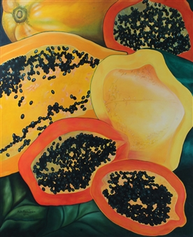 Maria Antonia Mena Lagos - Papayas Oil on Canvas, Paintings
