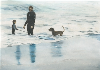 Nancy Holleran - Family Boardin' in California Watercolor on Paper, Paintings