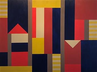 Roberta Caviglia - Playful Geometry #4 Acrylic on Canvas, Paintings