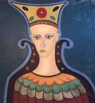 Merab Kardava - The Ancient Queen and the Third Eye in the Universe! Oil on Canvas, Paintings