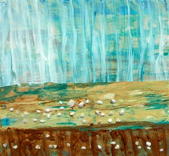 Trent Altman - A Morning Beach Walk Acrylic & Mixed Media on Canvas, Paintings