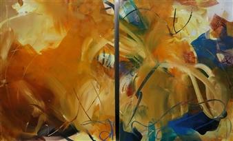 Abreesha Jones - Let It Open Acrylic, Spray Paint, Oil Pastel on Canvas, Mixed Media