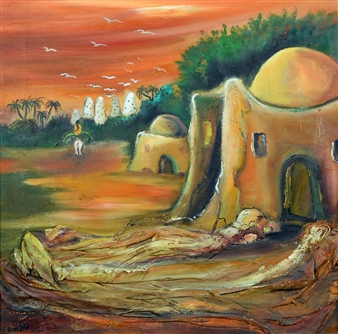 Amani Elbayoumi - Village Oil on Canvas, Paintings