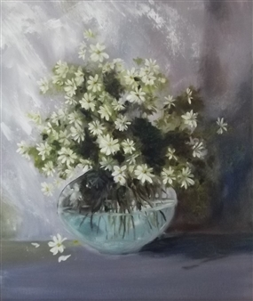 Lizzy Forrester - Simplicity of Daisies Oil on Board, Paintings