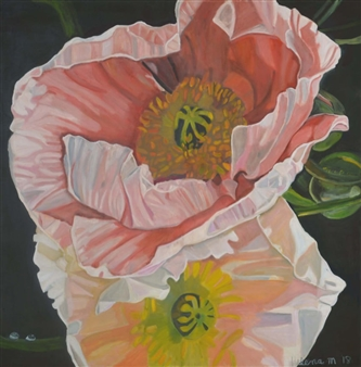 Helena McConochie - Waterdrops on Poppies 'Sara' Oil on Canvas, Paintings