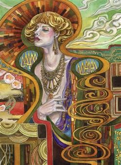 Yuki Goodman - Sister Ochre Watercolor & Ink on Paper, Paintings