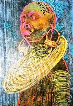 Franck Sastre - Makeda Mixed Media on Canvas, Mixed Media