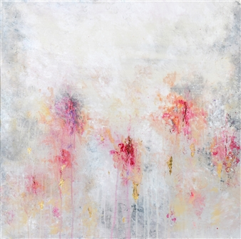 Jeannette Dannehl - Floating Flowers Acrylic & Gold Leaf on Canvas, Paintings
