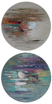 Madhuri Bhaduri - The Moon 9, diptych Oil on Canvas, Paintings