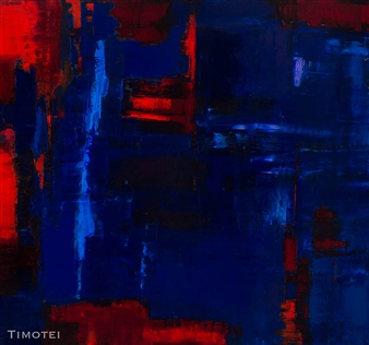 Catherine Timotei - Reflection: Red on Blue Oil on Canvas, Paintings
