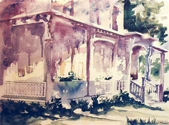 Pauli Zmolek - Colonial House Watercolor on Paper, Paintings