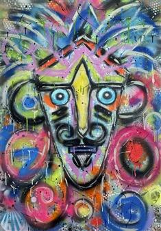 Lisa Gehres - Rockstar Acrylic & Spraypaint on Canvas, Paintings