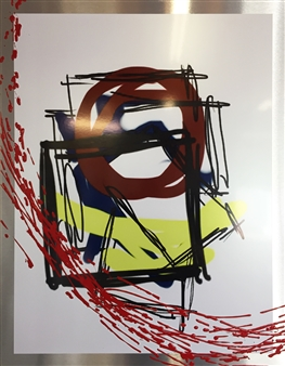 Lawrence R. Armstrong - Red Flash Mixed Media on Metal, Mixed Media