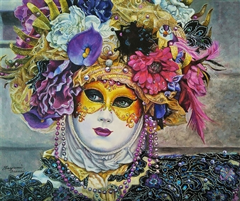 Sayumi Osanai - Venetian Mask 4 Oil on Canvas, Paintings