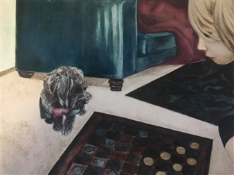 Nancy Holleran - Dog Playing Checkers Watercolor on Paper, Paintings