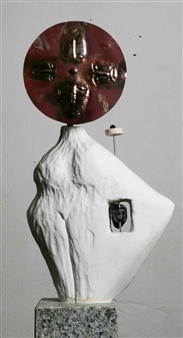 Venceslao Mascia - Surrogato I Carrara Marble, Obsidian and Copper, Sculpture