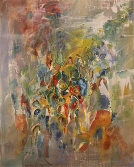 Meir Raz - The Crowd Oil on Canvas, Paintings