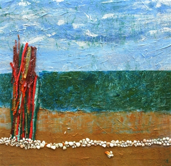 Trent Altman - A Sea View Shore Acrylic & Mixed Media on Canvas, Mixed Media