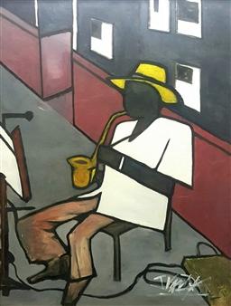 Julian Van Dyke - Sax Man George Howard Oil on Canvas, Paintings
