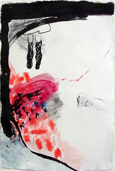 Riedstra Visual Artist - Zapp Notes II Ink, Soft Pastel, & Gouache on Khadi Paper, Mixed Media