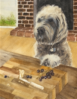 Nancy Holleran - Dog Begging for Cheese Watercolor on Arches, Paintings