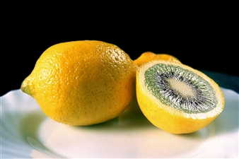David Strano - Kiwi-Citron (Lemon-Kiwi) Ultra HD Argentic Print on Aluminium Dibond & Covered with Acrylic Glass, Photography