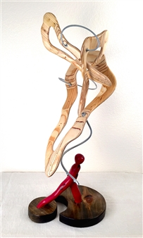 John Mark Luke - Thought Ascending Mixed media-metal and wood, Sculpture