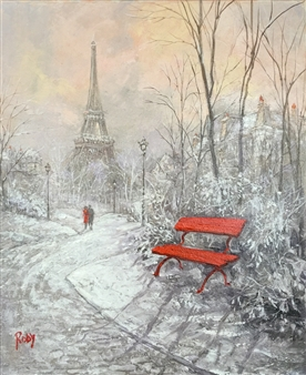 Rody - Eiffel Tour in Winter Oil on Canvas, Paintings