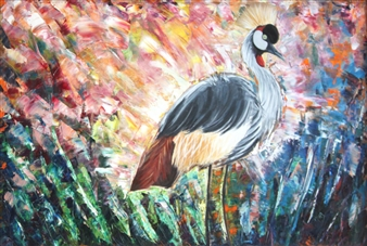 Pamela Sullivan - Crane and Glory Oil on Canvas, Paintings