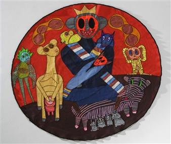 Paula Sayago Lundin - Monarch Mixed Media on Fabric, Mixed Media