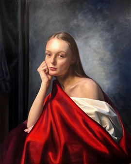 John Britton - Rebecca in Red Oil on Canvas, Paintings