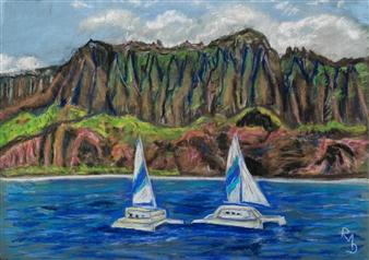 Raul Mariaca Dalence - N'a Pâli Coast Kauai Island Pastel on Canvas, Paintings