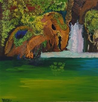 Mira Seeman - Waterfall Oil on Canvas, Paintings