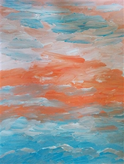 Yu He - Evening Sky No.172 Acrylic on Paper, Paintings