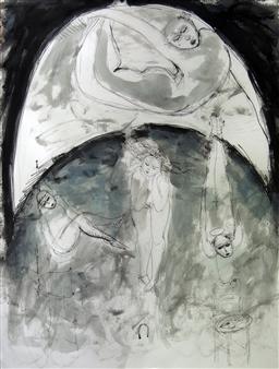 Martha Jimenez - Moon-honey Gouache on Cardboard, Paintings