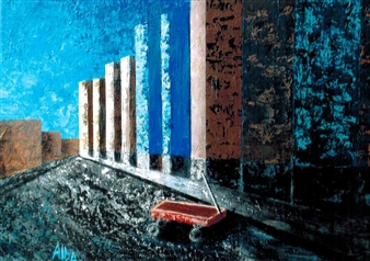 Frank M. Alba - Inner City Acrylic on Canvas, Paintings