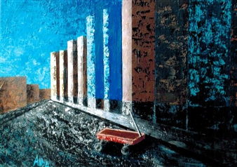 Frank M. Alba - Inner City Acrylic on Canvas, Paintings