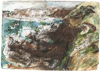Frances Hatch - Rabbit Hole and Tanker. St Anne's Head, Pembrokeshire Mixed Media on Archival Paper, Mixed Media