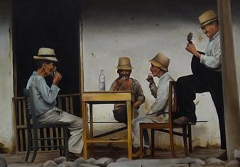 Mauricio Valdiviezo - Reunion Oil on Canvas, Paintings