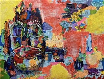 Sal Ponce Enrile - Village Mixed Media on Canvas, Mixed Media