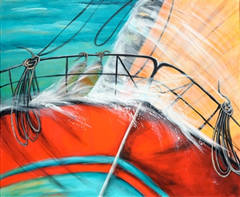 Jutta Schulte - Big Boat Acrylic on Canvas, Paintings
