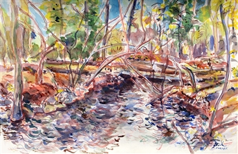James Chisholm - Boxford, Millbrook Onsite Watercolor on Paper, Paintings