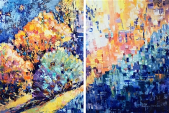 Monika Gloviczki - Morning Swim Oil on Canvas, diptych, Paintings