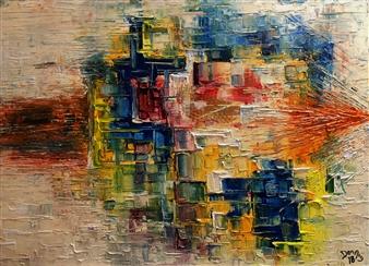 Dan Aug - Warp Drive Oil on Canvas, Paintings