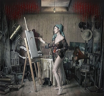 Alexander Pepe Roiz - The Painter's Studio Oil on Canvas, Paintings
