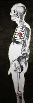 Hugo Ximello-Salido - Corazón de Rosa Acrylic & Ink on Canvas, Paintings