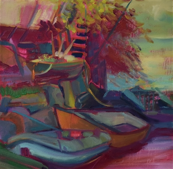 Julia Rowlands - Pablo's Boat Oil on Canvas, Paintings